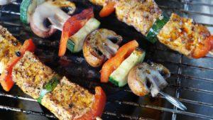 meat skewer, grilling, food