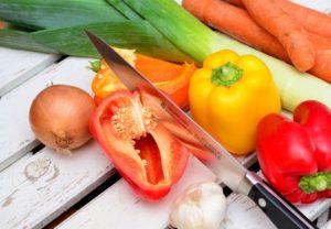 vegetables, slice, knife