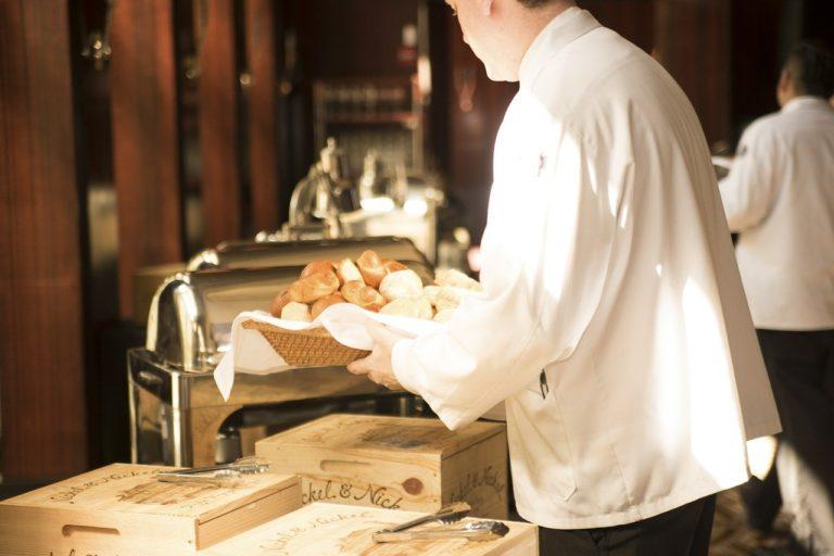 waiter, bread, deliver
